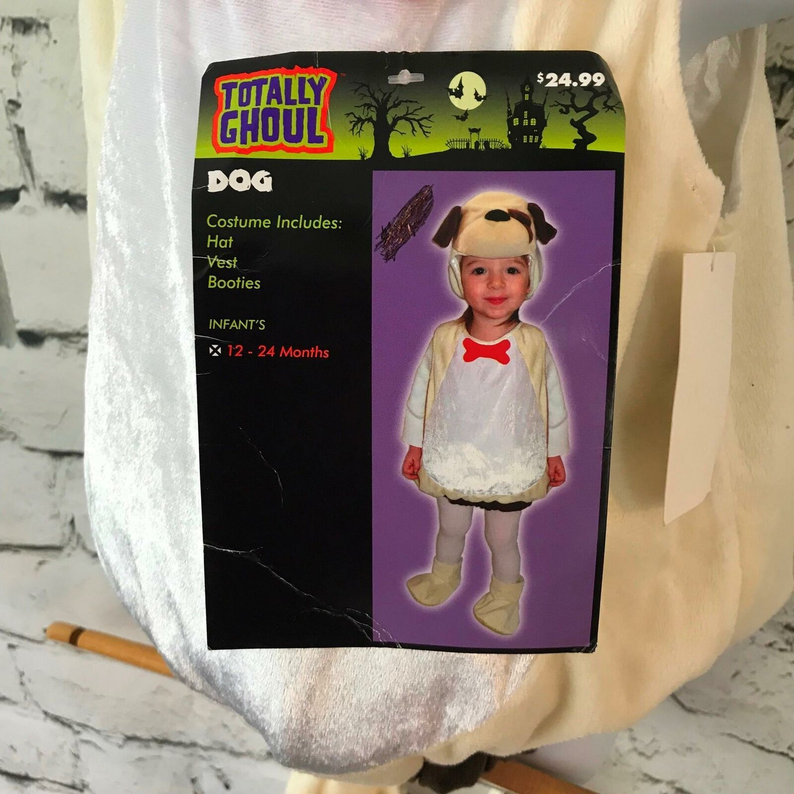 Totally Ghoul Cane Costume Neonato Unisex Sz 12-24Mos Felpa Halloween Vestirsi - $24.73