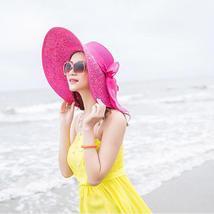 Women Colorful Big Brim Straw Bow Hat Sun Floppy Wide Brim Hats Beach Cap Colorf image 3