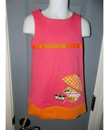 Hartstrings Pink & Orange Dress W/ Beach Scene Applique Size 3T Girl's EUC - $20.25