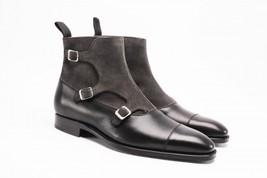 Handmade Men two tone leather boot, Men triple monk boot, Mens formal boot  - $179.99