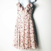 GUESS LA Floral Print Dress Size 5 Ruffle V Neck Gathered Waist Sleeveless - $30.37