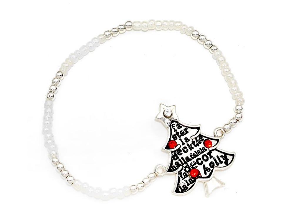 Silver Burnished Christmas Tree Bead Stretch Bracelet