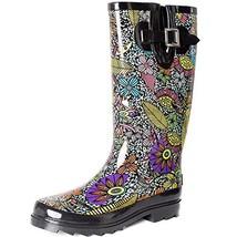 SheSole Women's Waterproof Rubber Rain Boot Black US 10 - $29.31