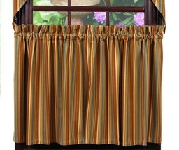country rustic cabin farmhouse Cordwood blue tan brown stripe TIER curtains - $31.95+