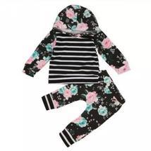 Hooded black stripe flower baby girl tops sweatshirt+pants - $13.56