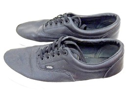 MENS CASUAL SHOES VANS BRAND SIZE 9 1/2  BLACK WELL MADE         H 3 - $23.98