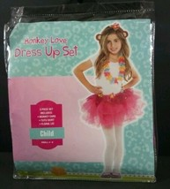 Sz Girls 4-6 Monkey Love Girls Dress Up Set Costume 3 Pc NEW Halloween  B252 - $8.99