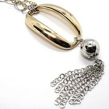 SILVER 925 NECKLACE, DOUBLE CHAIN ROLO', WHITE AND YELLOW, OVAL FRINGE, HANGING image 3