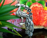 Vintage peacock bird large pewter pendant floral flowers silver tone thumb155 crop