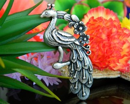 Vintage Peacock Bird Large Pewter Pendant Floral Flowers Silver Tone - $22.95