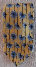 "Nordstrom Yellow Blue Daisy Black Striped Silk Tie 59"" long - $12.86"