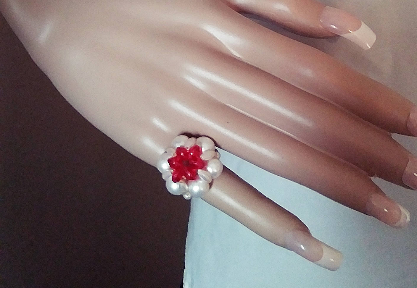 Primary image for Ladies Fun Vintage 1960's Acrylic Faux Pearl Beaded Red Stretch Fashion Ring