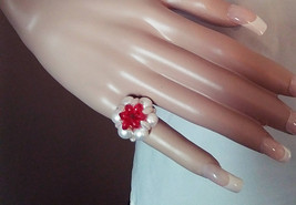 Ladies Fun Vintage 1960's Acrylic Faux Pearl Beaded Red Stretch Fashion ... - $8.49