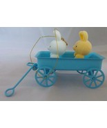Avon Spring Bunny Collection Bunnies in Blue Metal Wagon Easter Ornament - $3.00