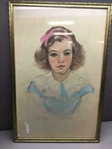 Vintage Pen Ink Craypas Signed Drawing of Young Girl in Gold Frame - $34.54