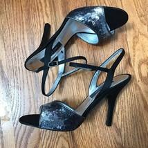 Black Nina Sequin Open Toe Strappy Heels Stiletto Wedding Prom Shoes 8 N... - $98.99