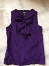 Eddie Bauer Silk Blend XS Lined Purple Ruffled Front-end Neck Tank Top - $16.69