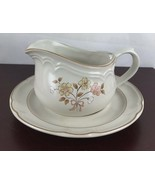 Grodella Hand Decorated Stoneware Gravy Boat w/tray Japan - $14.03
