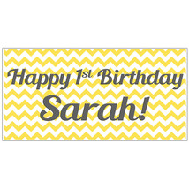 Custom Yellow and Gray Chevron Birthday Banner Personalized Party Backdrop - $22.28
