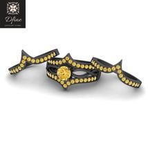 Citrine Yellow Bridal Wedding Ring Set Engagement Ring Trio Set Solid 14k Gold - $899.99