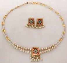 Reversible Gold Red Blue Maroon Pearl Jewelry Indian Bridal Necklace Set 2S - $12.34