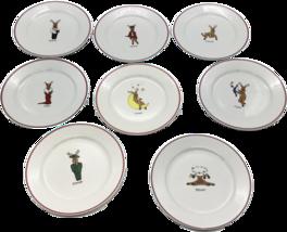 "Christmas Dessert Salad Plate Set of Eight Reindeer 8"" Rainbow Mountain  - $59.99"