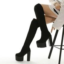 Women's Punk Platform Knee High Boot Woman Gothic Thigh High Long Women Slip ... - $75.11+