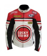 LUCKY STRIKE RED WHITE COWHIDE RACING MOTORCYCLE LEATHER JACKET WITH SAFETY PADS - $159.99