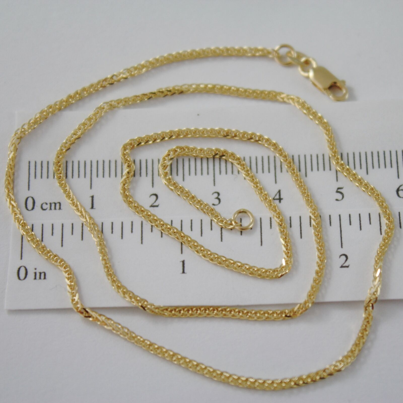 SOLID 18K YELLOW GOLD CHAIN NECKLACE, EAR SQUARE LINK 23.62 INCHES MADE IN ITALY