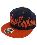 New England Men's Offset Cursive Script Snapback Baseball Cap (Navy/Red) - $11.95