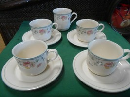"Lenox ""Country Cottage Courtyard"" Chinastone 4 Cups & Saucers & 1 Free Mug - $32.26"