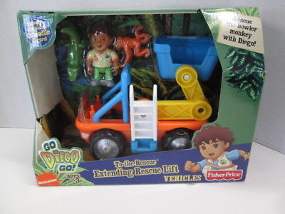 Fisher Price Go Diego Go! To-the-Rescue Extending Rescue Lift Vehicle BRAND NEW!