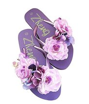 Fashion Summer Item, Purple Flower Flip Flop Beach Casual Sandals