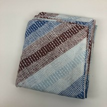 VTG Pequot Twin Flat Bed Sheet Blue Maroon Mod Geometric Retro 70s Cutte... - $15.83
