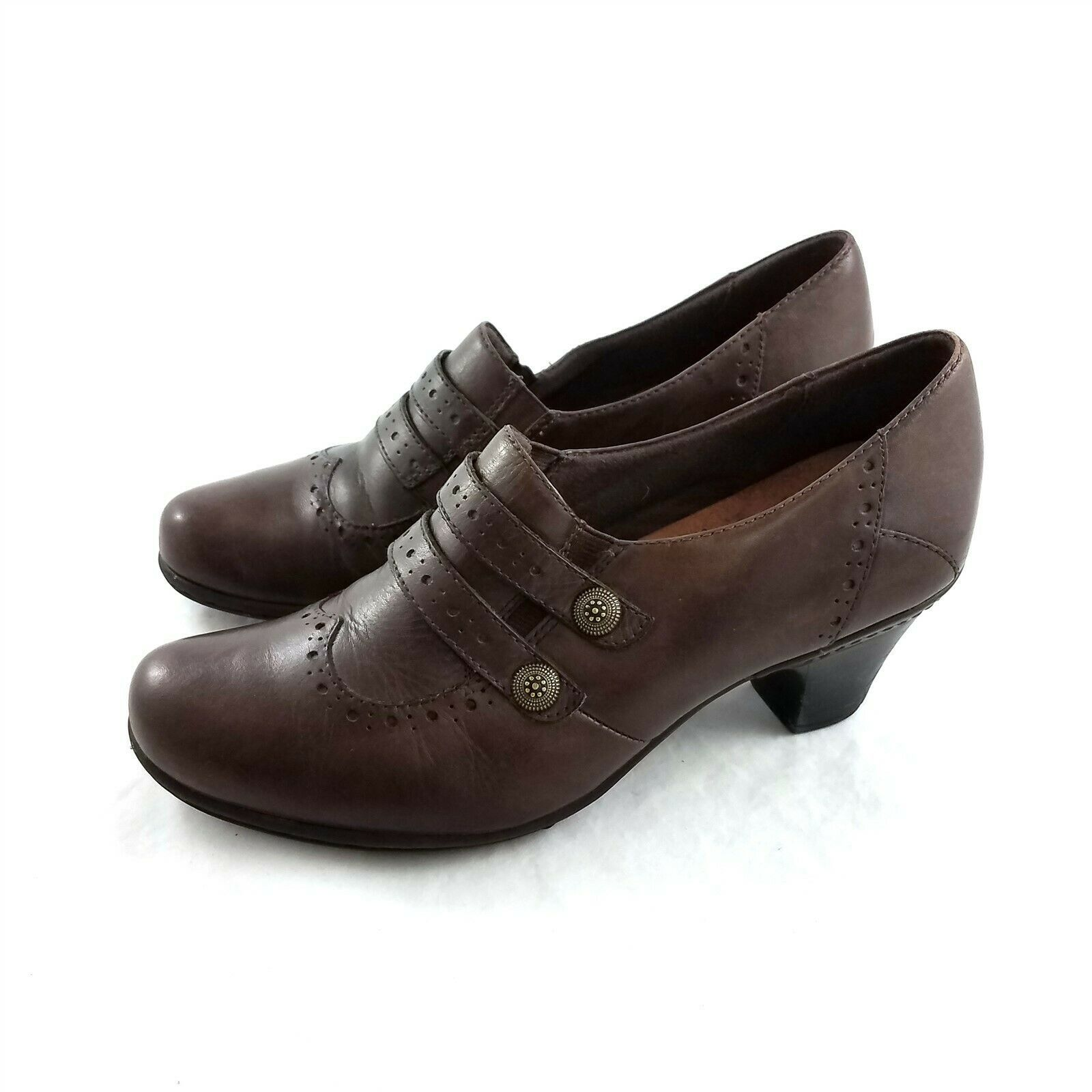 Primary image for Cobb Hill by New Balance Brown Leather Slip On Heels Pumps Shoes Womens 9.5 N