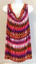 Lane Bryant Top 14/16W Multi-Color Geometric Sleeveless Cowel Neck Rayon Blend - $15.83