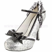 ELLIE Shoes High Heel Glitter Pump Lace Trim Removable Bow 453-LACEY Silver - $54.95