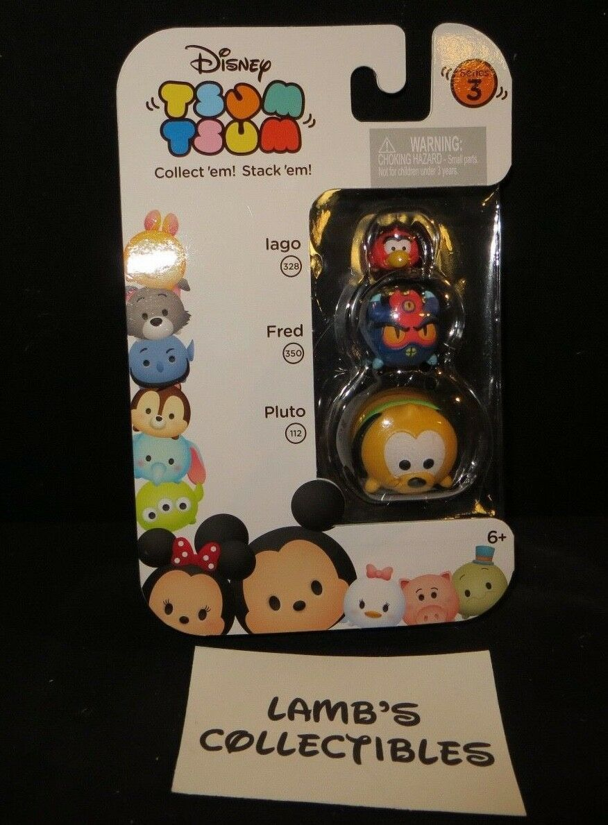 Primary image for Disney Tsum Tsum vinyls series 3 stackable 3 pack Iago Fred Pluto