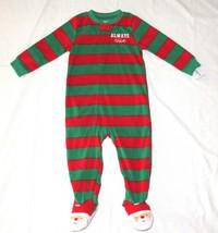 Boy Girl 4T Carters Fleece Footed pajama Blanket Sleeper Santa Feet Always Nice - $7.99