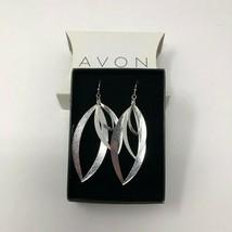 """Avon Textured Fashion Silvertone Wire Pierced Teardrop Dangle Earrings 3"""" NIB - $10.29"""