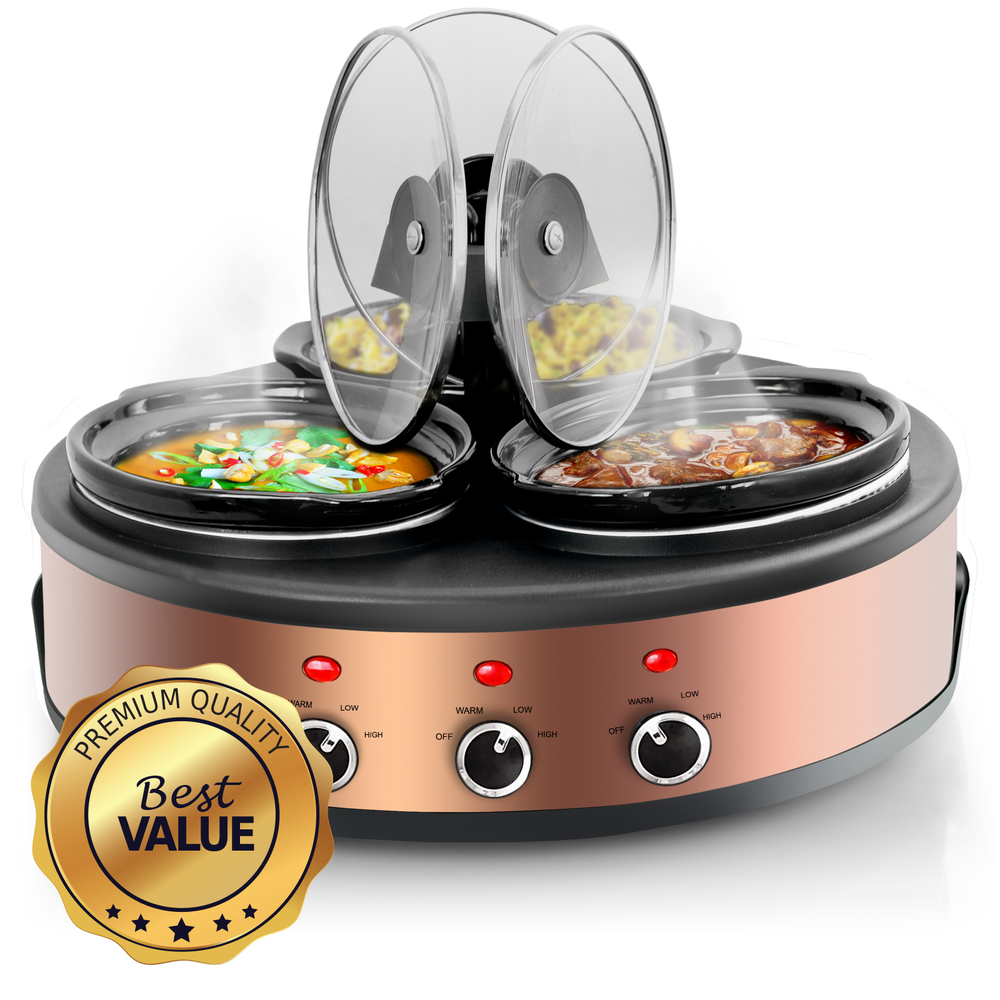 MegaChef Round Triple 1.5 Quart Slow Cooker and Buffet Server in Brushed Copper