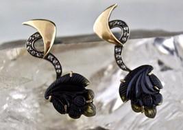 Natural Multi Tourmaline Victorian Earring Stud Gemstone Diamond 18k Gol... - $380.00