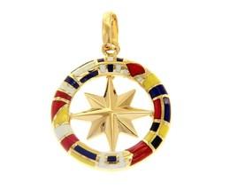 18K YELLOW GOLD COMPASS WIND ROSE PENDANT, 2.3cm, ENAMEL NAUTICAL FLAGS image 1