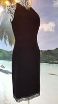Oscar De La Renta Stunning Black Velvet Silk Black Bead Dress Gown Runway 4 - $395.00