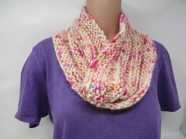 Handcrafted Knitted Cowl Shawl Wrap Ivory/Pink 100% Merino Wool Female A... - $44.18