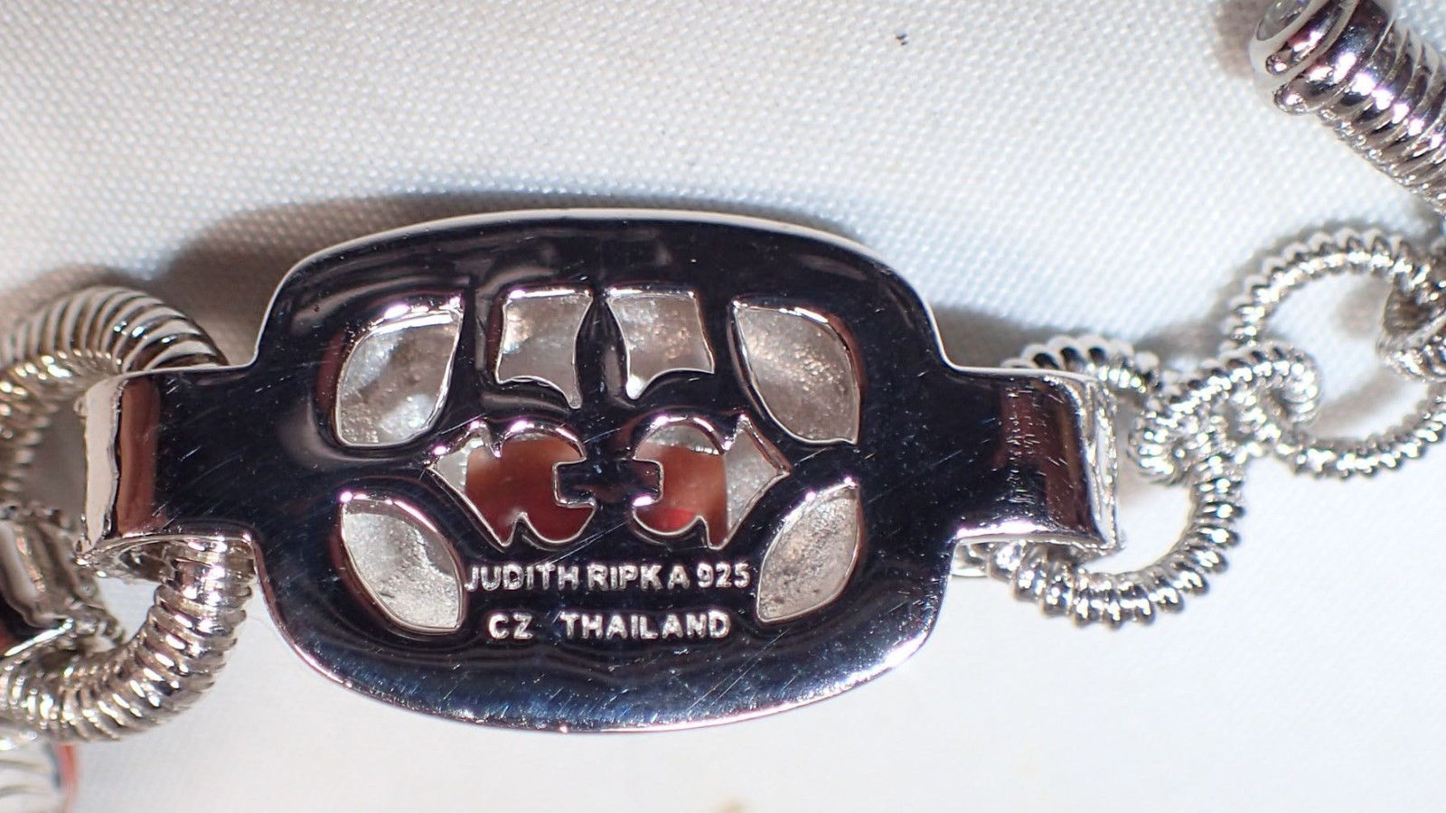 Judith Ripka Sterling Silver Carved Jasper CZ Station Link Bracelet New in Box image 3