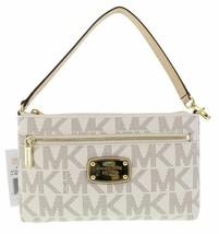 NEW! Michael Kors Large Wristlet MK PVC Logo-Vanilla - $128.58