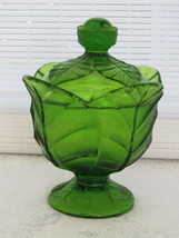 Viking Glass Leaf Green Footed Candy Dish with Lid - $32.66