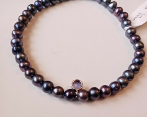 Primary image for Pure Pearl Black Bracelet set in Sterling Silver New Jewellery Bangle RRP £99.00