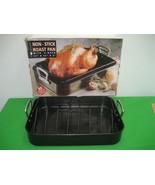 "Invitations Non-Stick Large Roast Roaster Pan 17x12x3"" Carbon Steel & V-Rack - $14.92"